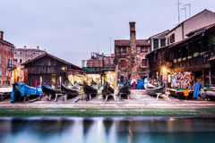 Gondola Maintenance Yard (Venice). Venetian Gondola boats undergoing repairs Royalty Free Stock Photo