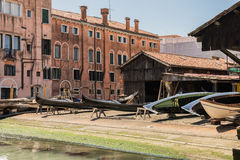 Gondola manufacturer. Gondola manufacture and maintenance in Venice in May 2016 Stock Photos