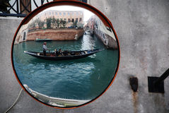 Gondola in mirror in Venice Royalty Free Stock Images