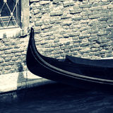 Gondola moored in canal Royalty Free Stock Photography