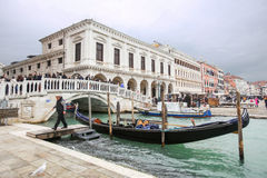 Gondola moored in front of Riva degli Schiavoni Stock Images
