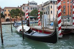 gondola moored in Venice stock photos