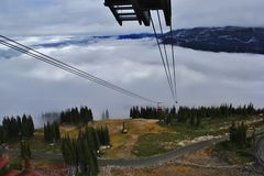 Gondola, mountain in Whistler, British Columbia, Canada.  Royalty Free Stock Photography