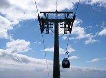 gondola na wagonu kolei linowej systemu ??czy Funchal i monte w Madeira przechodzi poparcie pilonu agains b??kitny chmurny niebo fotografia stock