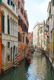 Gondola on the narrow canals of Venice, Italy, Europe Royalty Free Stock Images