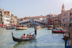 Gondola near Rialto Bridge in Venice Royalty Free Stock Photo