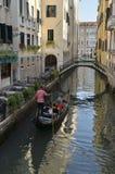 Gondola next to the Wrought Iron Bridge Stock Photos