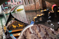 Gondola nose on water, Venice channel Stock Photo