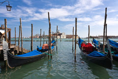 Gondola. One were alreday booked... Gandolas station at San Marco in Venice, Italy Stock Images