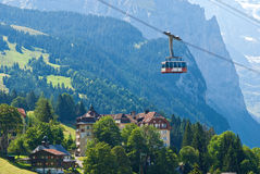 Gondola over wengen, switzerland Royalty Free Stock Images