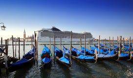 Gondola parking background of Cruise ship Stock Photo