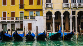 The gondola parking in flooded  Venice in the autumn. Stock Images