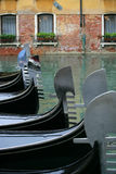 Gondola parking lot. The Gondola parking lot in Venice, Italy royalty free stock photos