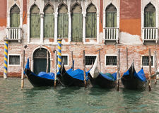 Gondola parking, Venice. Gondolas parked on Canal Grande in Venice, Italy royalty free stock images