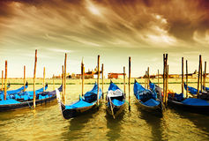 Gondola Parking, Venice Stock Photo