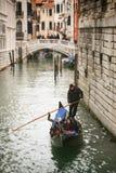 Gondola passing under Bridge of Sighs Royalty Free Stock Photos