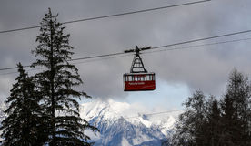 Gondola. A gondola is pictured in a ski resort in Innsbruck, western Austria on December 17th, 2016 Stock Image