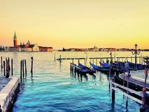 Gondola pier on the Grand canal of Venice, Italy stock photography