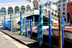 Gondola Poles and Rialto Bridge Royalty Free Stock Image