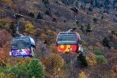 Gondola precisa due alla località di soggiorno di montagna di Killington Fotografia Stock
