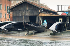 Gondola repair yard Royalty Free Stock Photos