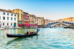 Gondola at the Rialto bridge in Venice, Italy Stock Images
