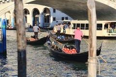 Gondola at Rialto bridge in Venice, Italy royalty free stock photos