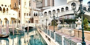 Gondola Ride along Venetian canal. Las Vegas Venetian Royalty Free Stock Image