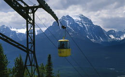 Gondola Ride Rocky Mountains Alberta Canada. Gondola ride in the Canadian Rocky Mountains, Lake Louise Alberta. 6x7 drum scan stock photo