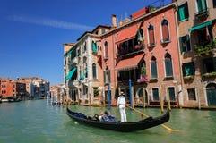 Gondola ride in the romantic Grand Canal in Venice Stock Photo