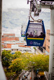 Gondola Ropeway city landscape. Medellin Colombia cable car Royalty Free Stock Photo