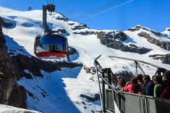 A gondola of the Rotair cable car at Mt. Titlis. Stock Photos