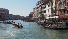 Gondola rowing boat in Venice Royalty Free Stock Images