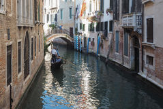 Gondola rowing boat in Venice Royalty Free Stock Photo