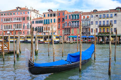 Gondola sails down the channel in Venice Royalty Free Stock Photo