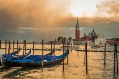 Gondola and San Giorgio Maggiore Church in sunset, Venice royalty free stock photo