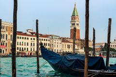 Gondola and San Marco Cathedral In Venice royalty free stock images