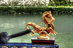 Gondola Sea Horse. Close up of the sea horse ornament of a gondola Royalty Free Stock Images