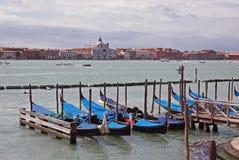 Gondola on sea at venice stock image