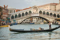 Gondola tour: Ponte di Rialto, Venice , Italy royalty free stock photography