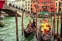 Gondola service in Venice Royalty Free Stock Images