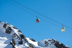 Gondola ski lift in high mountains Royalty Free Stock Photos