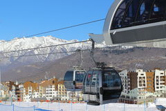 Gondola in ski resort Rosa Khutor Royalty Free Stock Photography
