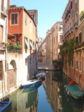 Gondola and small boats stock images