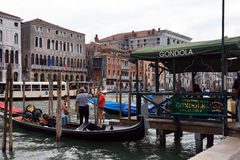 Gondola station in Venice - Italy. Stock Images