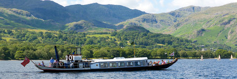 Gondola steam boat on Coniston water Lake District England stock image