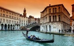 Gondola sul canale gran Fotografia Stock