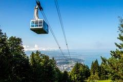 Gondola in Swiss. Gondola in the Swiss mountains Summer photo Stock Photos