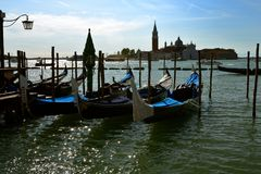 Iconic gondolas of Venice at their moorings Royalty Free Stock Photography