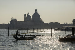 Gondola tour at sunset in Venice Royalty Free Stock Photography